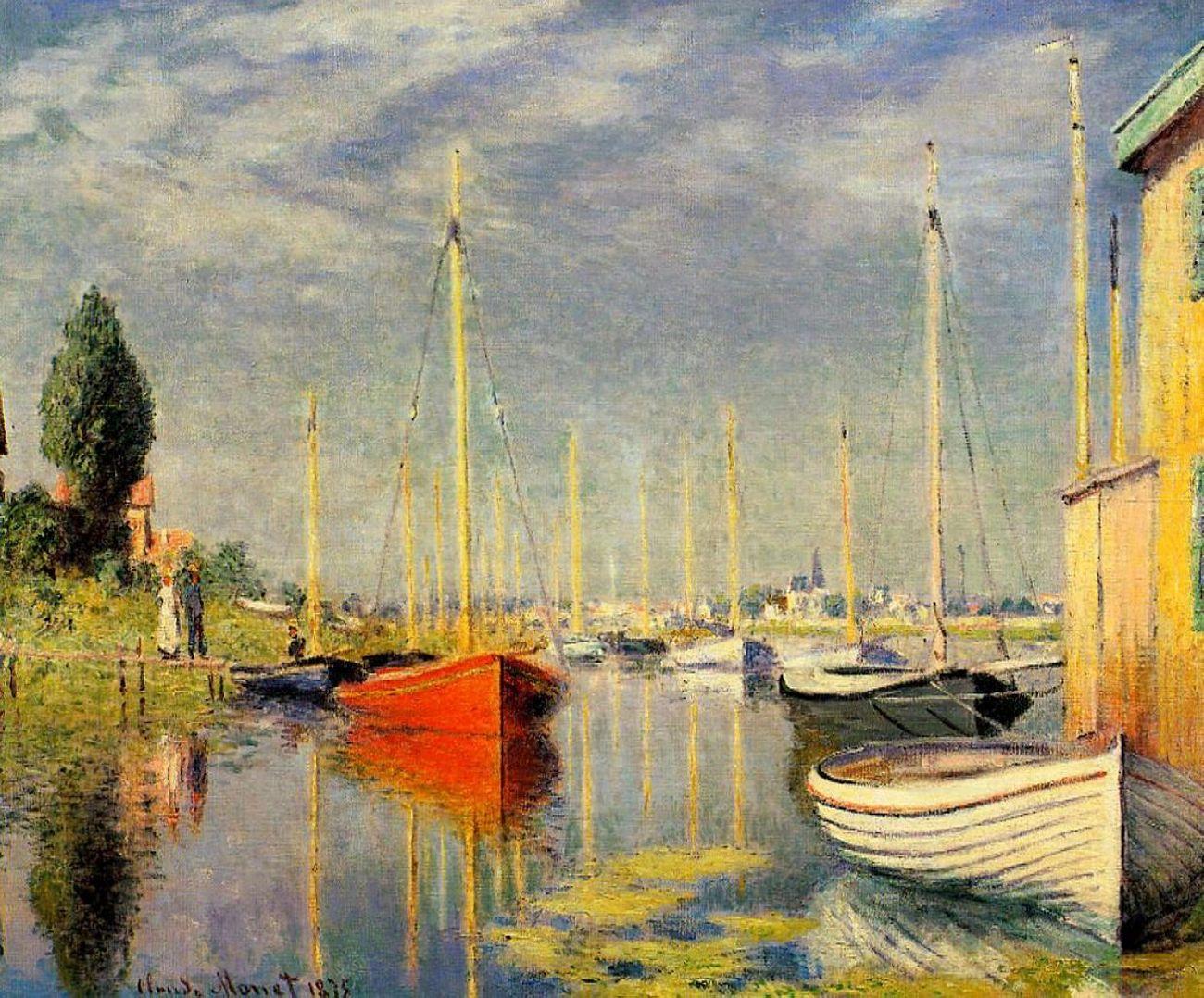 пейзажи - парусники и лодки < Яхты в Аржантёе >:: Клод Моне, описание картины - Claude Monet фото
