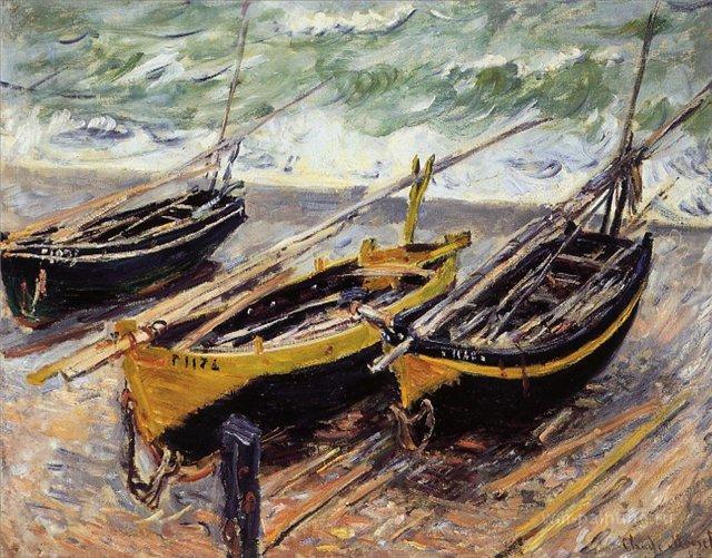 пейзажи - парусники и лодки < Три рыбацкие лодки >:: Клод Моне, описание картины - Claude Monet фото