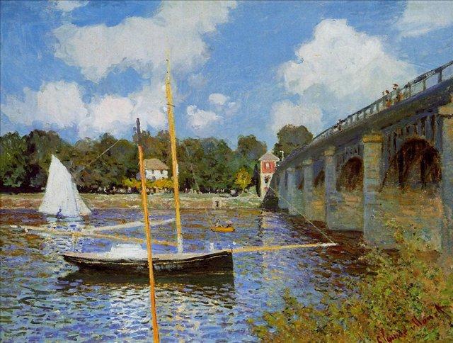 пейзажи - парусники и лодки < Дорожный мост в Аржентёе >:: Клод Моне, описание картины - Claude Monet фото