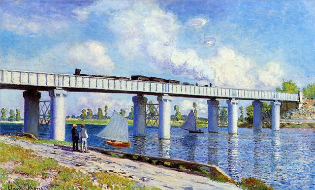 пейзаж Парусники и лодки Железнодорожный мост в Аржантёе :: Клод Моне, описание картины - Claude Monet фото