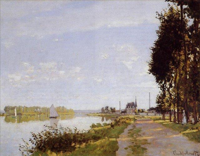 пейзажи - парусники и лодки < Прогулка по Аржантёю >:: Клод Моне, описание картины - Claude Monet фото