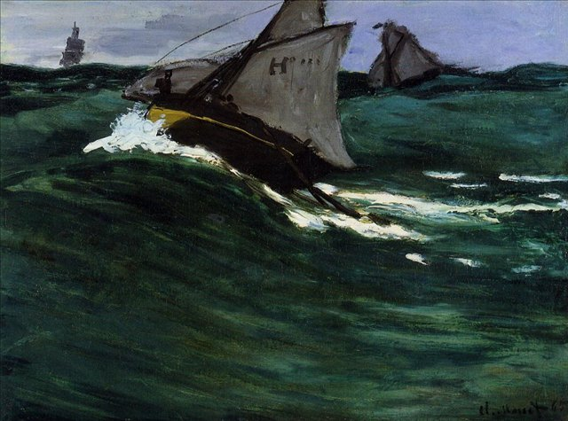 пейзажи - парусники и лодки < Зелёная волна >:: Клод Моне, описание картины - Claude Monet фото