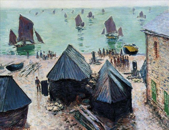 пейзажи - парусники и лодки < Отчаливащие лодки >:: Клод Моне, описание картины - Claude Monet фото