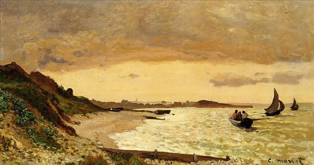 пейзажи - парусники и лодки < Морское побережье, Сен-Адрес >:: Клод Моне, описание картины - Claude Monet фото