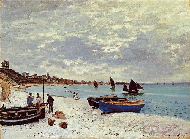 Пляж в Сент-Адресс:: Клод Моне, пейзажи - парусники и лодки - Claude Monet фото