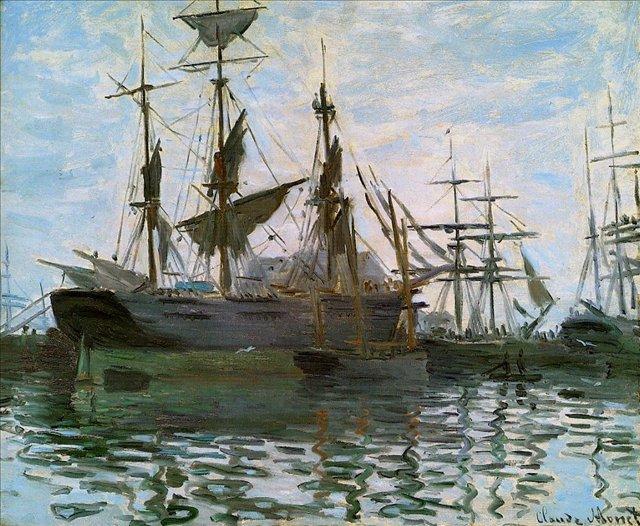 Лодки, штудия (Корабли в гавани) :: Клод Моне, пейзажи - парусники и лодки - Claude Monet фото