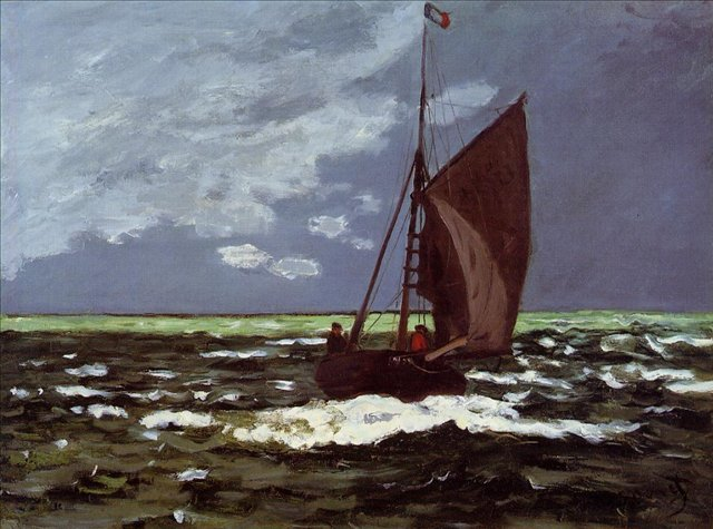 пейзажи - парусники и лодки < Штормовое море >:: Клод Моне, описание картины - Claude Monet фото