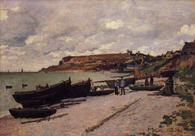 пейзажи - парусники и лодки < Сен-Адрес, рыбацкие лодки на берегу >:: Клод Моне, описание картины - Claude Monet фото