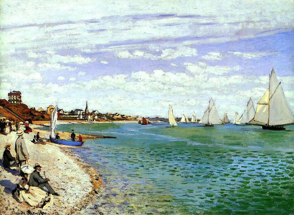Регата в Сент-Адресс:: Клод Моне, пейзажи - парусники и лодки - Claude Monet фото