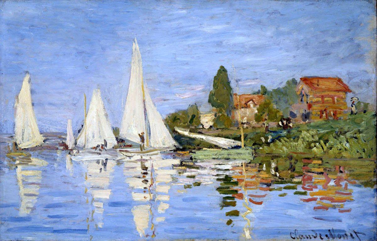 Регата в Аржантёе (пейзаж парусники и лодки) :: Клод Моне, описание картины - Claude Monet фото