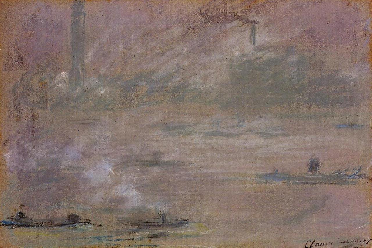 пейзажи - парусники и лодки < Лондон, лодки на Темзе >:: Клод Моне, описание картины - Claude Monet фото