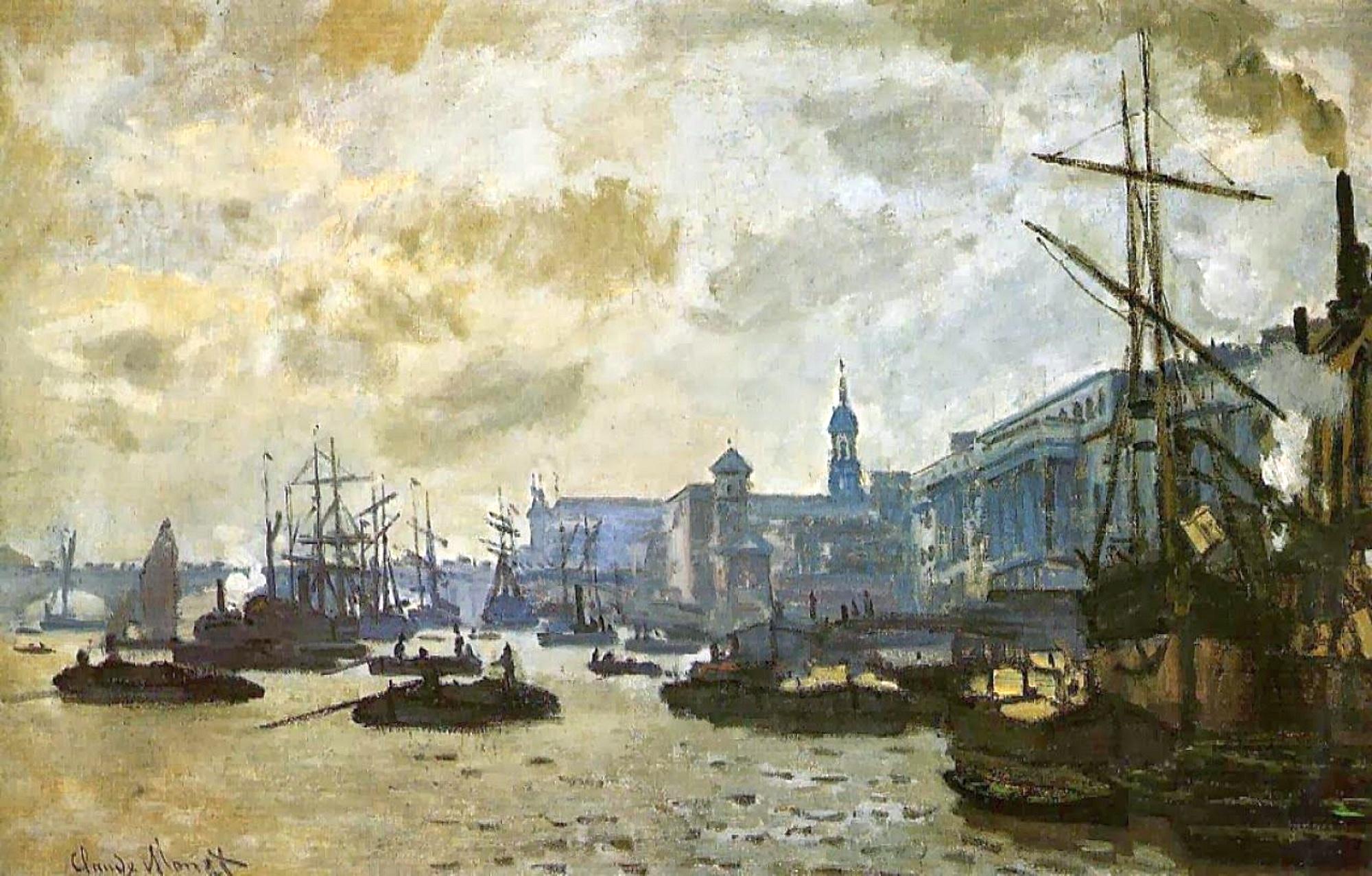 пейзажи - парусники и лодки < Лондон, порт >:: Клод Моне, описание картины - Моне Клод (Claude Monet) фото
