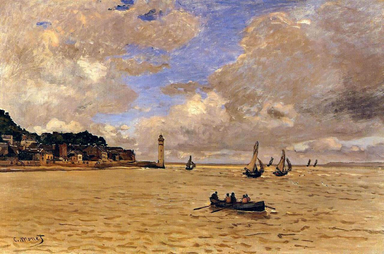 пейзажи - парусники и лодки < Маяк у богадельни >:: Клод Моне, описание картины - Моне Клод (Claude Monet) фото