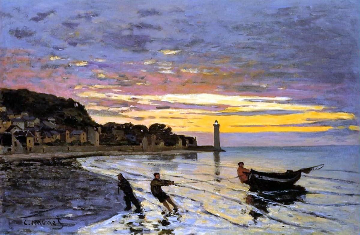 пейзажи - парусники и лодки < Транспортировка лодки на сушу >:: Клод Моне, описание картины - Claude Monet фото