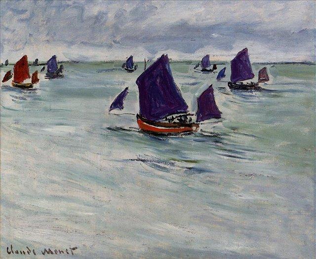 пейзажи - парусники и лодки < Рыбацкие лодки в Пурвилле >:: Клод Моне, описание картины - Моне Клод (Claude Monet) фото