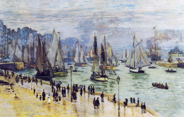 пейзажи - парусники и лодки < Рыбацкие лодки покидают порт Гавр >:: Клод Моне, описание картины - Моне Клод (Claude Monet) фото