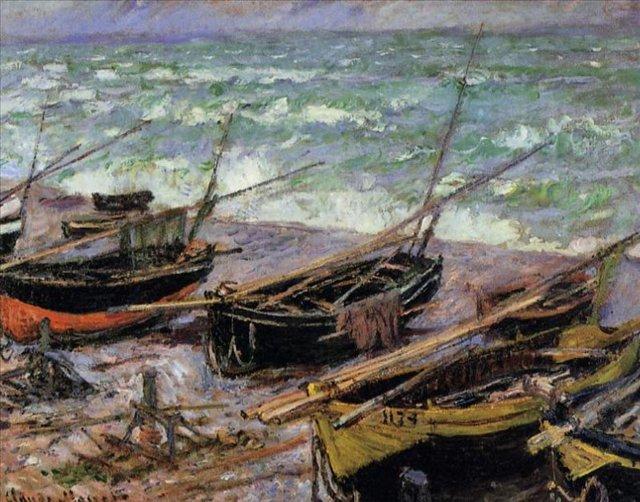 пейзажи - парусники и лодки < Рыбацкие лодки >:: Клод Моне, описание картины - Море в живописи ( морские пейзажи, seascapes ) фото