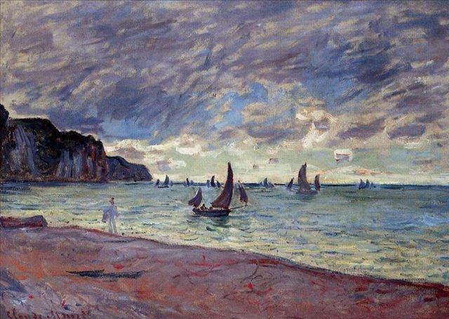 пейзажи - парусники и лодки < Рыбацкие лодки близ пляжа и утёсов, Пурвилль >:: Клод Моне, описание картины - Море в живописи ( морские пейзажи, seascapes ) фото