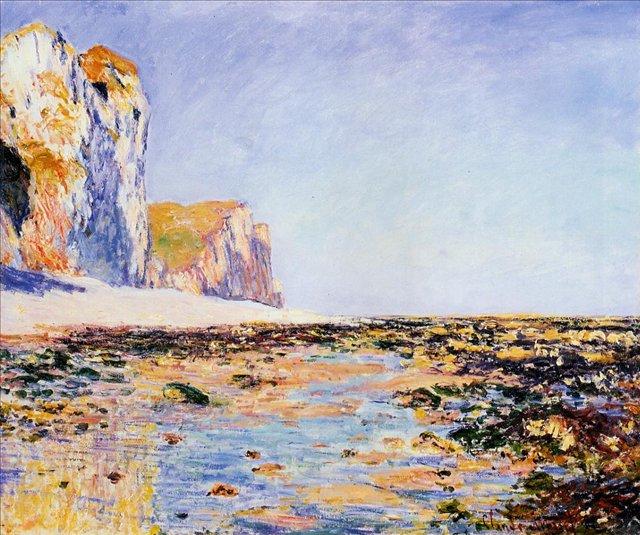 пейзаж Пляж и утёсы в Пурвилле :: Клод Моне, описание картины - Claude Monet фото