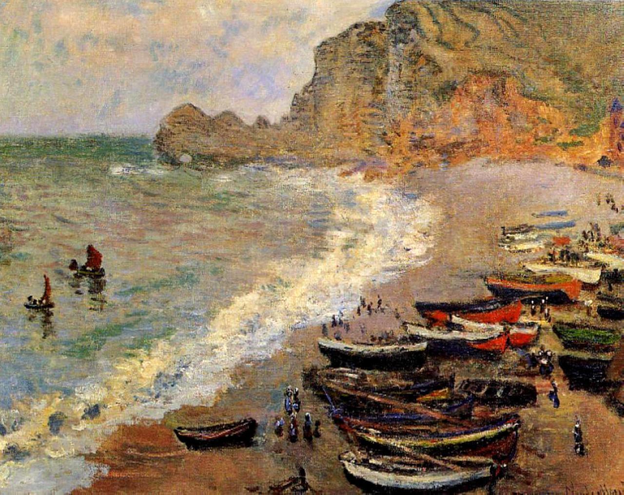 пейзажи - побережье < Пляж >:: Клод Моне, описание картины - Claude Monet фото