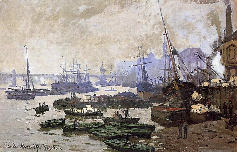 пейзажи - побережье < Лодки в порту Лондона >:: Клод Моне, описание картины - Моне Клод (Claude Monet) фото