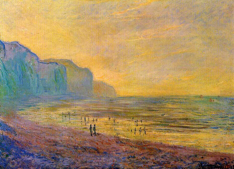 пейзажи - побережье < Пурвилль во время отлива, туманная погода >:: Клод Моне, описание картины - Моне Клод (Claude Monet) фото