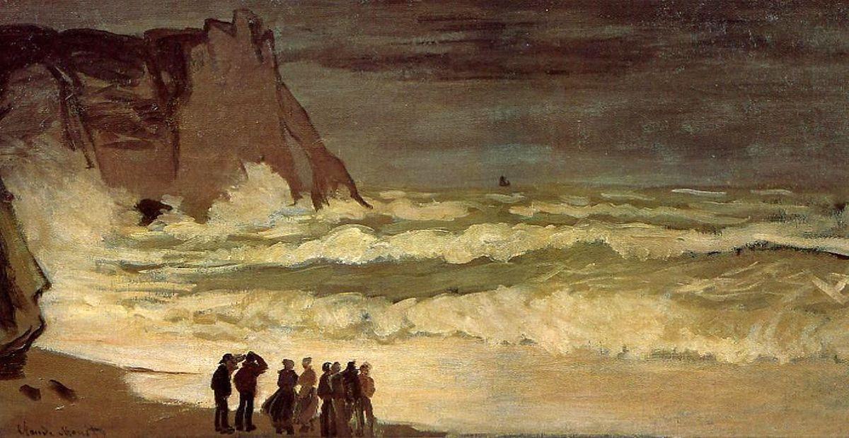 пейзажи - побережье < Бурное море >:: Клод Моне, описание картины - Claude Monet фото