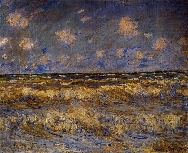 пейзажи - побережье < Бурное море >:: Клод Моне, описание картины - Моне Клод (Claude Monet) фото