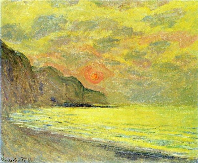 пейзажи - побережье < Закат, туманная погода в Пурвилле >:: Клод Моне, описание картины - Claude Monet фото