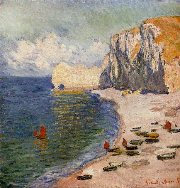 пейзажи - побережье < Пляж и скалы >:: Клод Моне, описание картины - Моне Клод (Claude Monet) фото