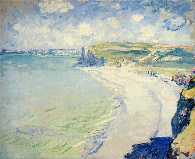 пейзажи - побережье < Пляж в Пурвилле >:: Клод Моне, описание картины - Claude Monet фото