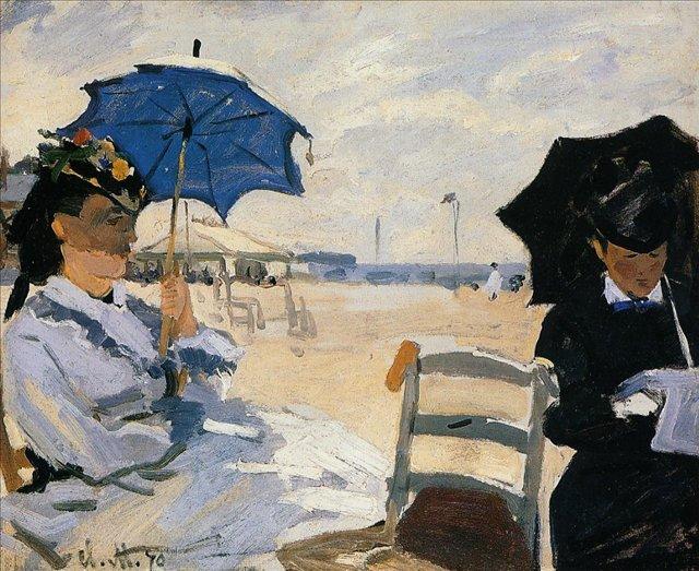 пейзажи - побережье < Пляж в Трувилле >:: Клод Моне, описание картины - Claude Monet фото