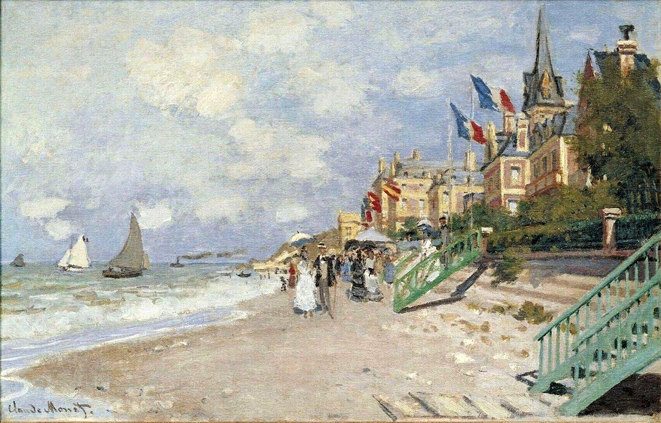 пейзажи - побережье < Пляж в Трувилле >:: Клод Моне, описание картины - Моне Клод (Claude Monet) фото