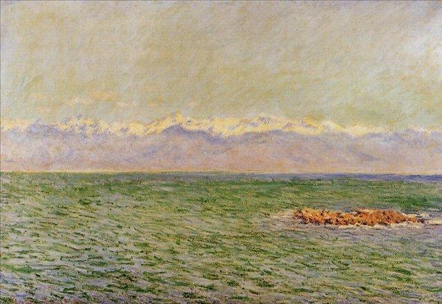 пейзажи - побережье < Море и Альпы >:: Клод Моне, описание картины - Моне Клод (Claude Monet) фото