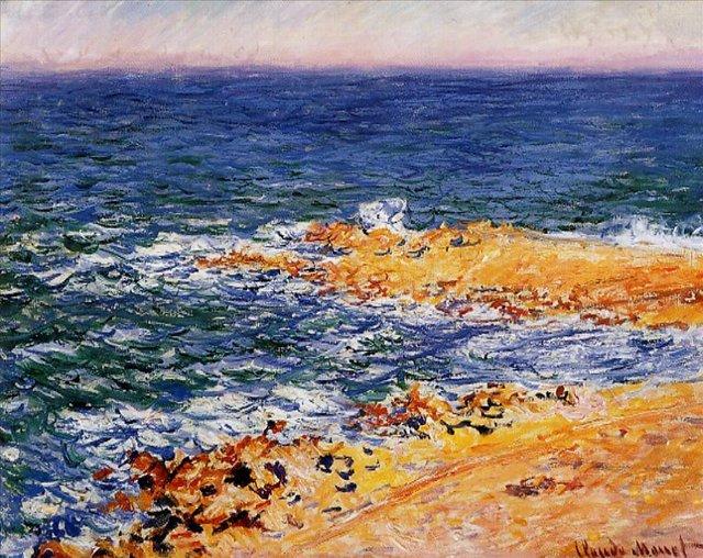 пейзажи - побережье < Море в Антибе >:: Клод Моне, описание картины - Моне Клод (Claude Monet) фото