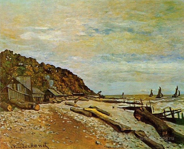 пейзажи - побережье < Лодочная мастерская >:: Клод Моне, описание картины - Claude Monet фото