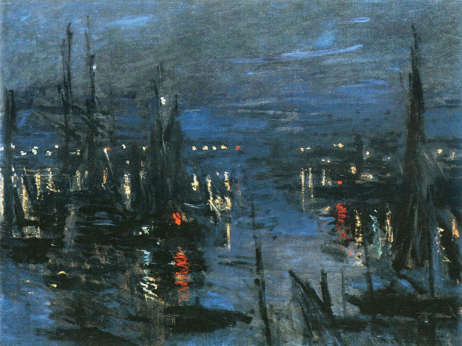морские пейзажи < Порт Гавр ночью  >:: Клод Моне, описание картины - Море в живописи ( морские пейзажи, seascapes ) фото