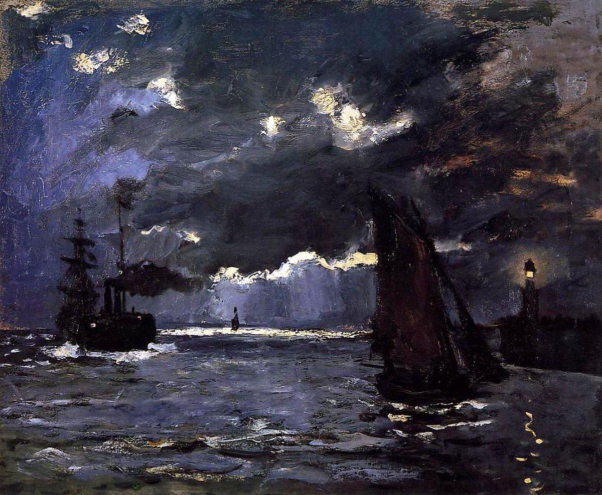 морские пейзажи < Море ночью >:: Клод Моне, описание картины - Море в живописи ( морские пейзажи, seascapes ) фото