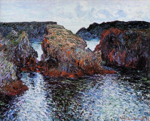 скалы и море < Скалы в Порт-Гульфар >:: Клод Моне, описание картины - Claude Monet фото