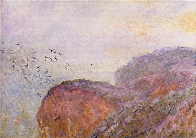 скалы и море < Обрыв рядом с Дьеппом >:: Клод Моне, описание картины - Моне Клод (Claude Monet) фото