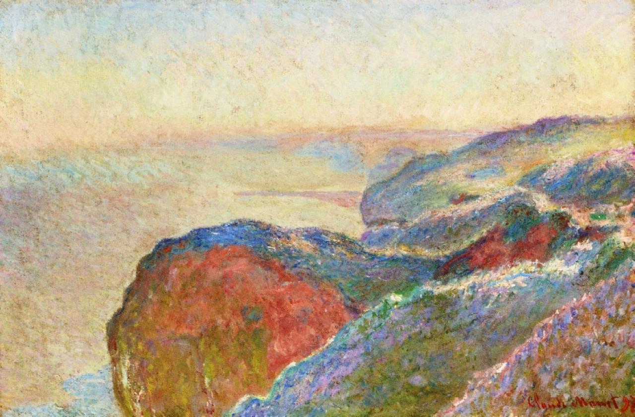 скалы и море < Долина Сен-Николя рядом с Дьеппом, утро >:: Клод Моне, описание картины - Claude Monet фото