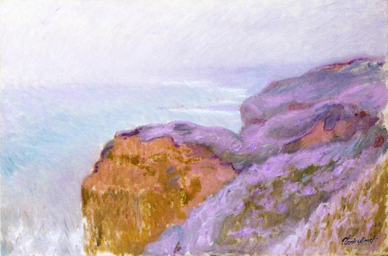 скалы и море < Долина Сен-Николя рядом с Дьеппом >:: Клод Моне, описание картины - Claude Monet фото
