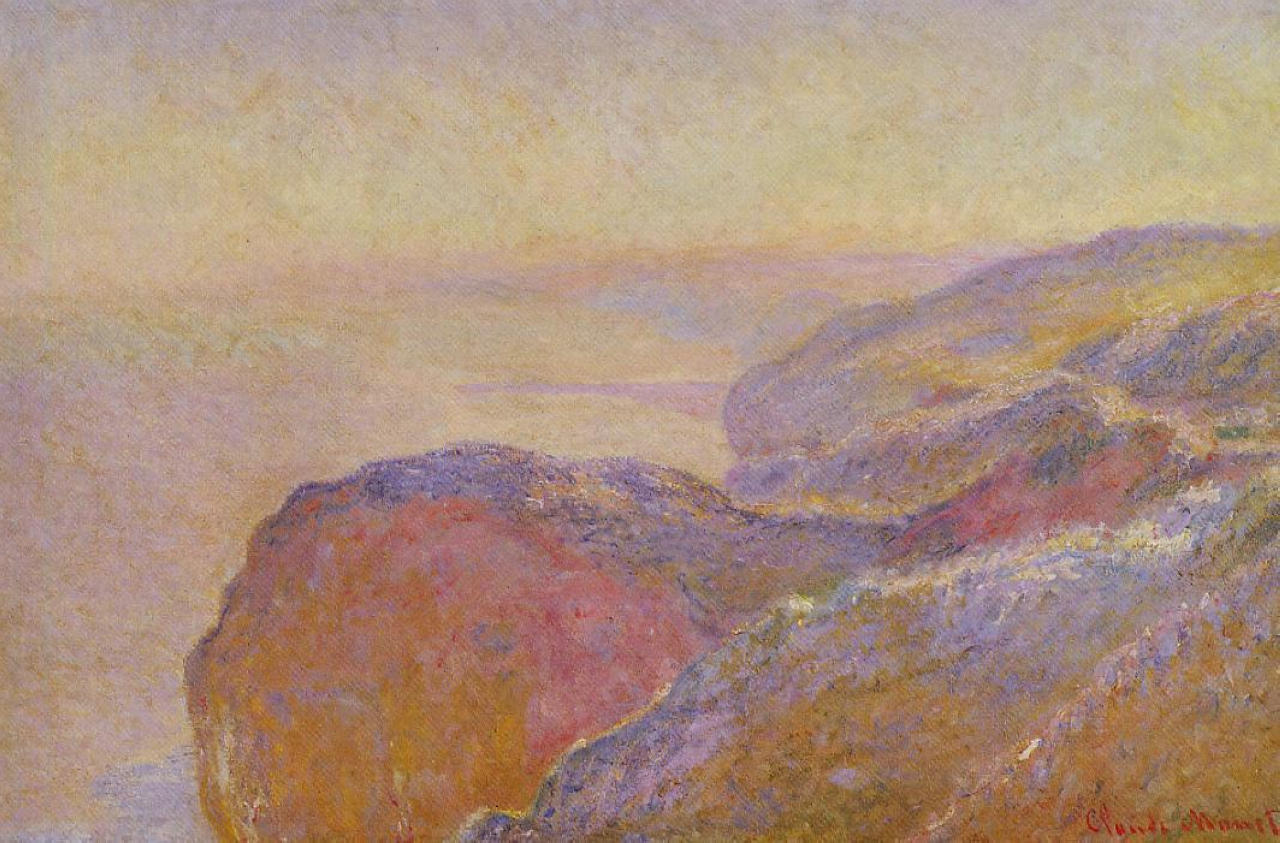 скалы и море < Долина Сен-Николя рядом с Дьеппом утром >:: Клод Моне, описание картины - Claude Monet фото