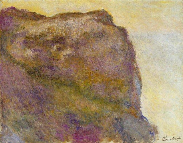 скалы и море < Обрыв в Пти-Альи >:: Клод Моне, описание картины - Claude Monet фото