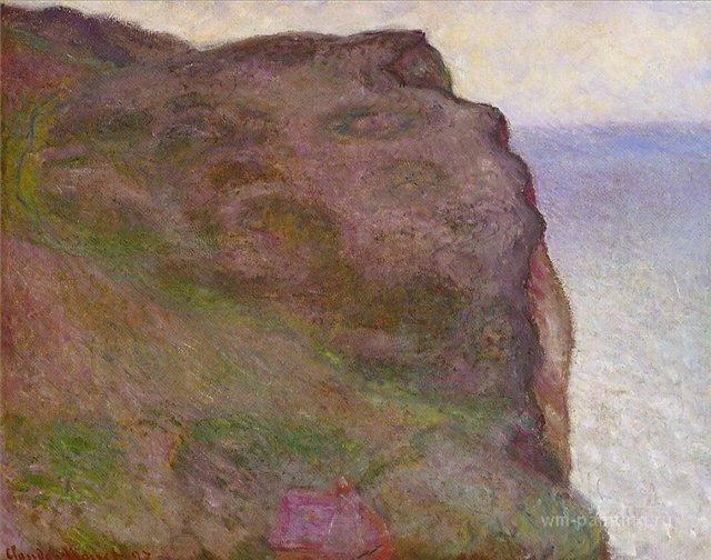 скалы и море < Обрыв в Пти-Альи, пасмурная погода >:: Клод Моне, описание картины - Claude Monet фото