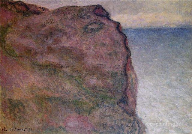 скалы и море < Обрыв в Пти-Альи, Варенживилль >:: Клод Моне, описание картины - Claude Monet фото