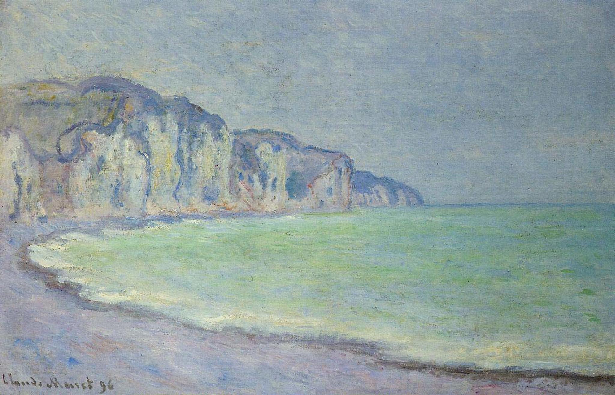 скалы и море < Скала в Пурвилле >:: Клод Моне, описание картины - Claude Monet фото