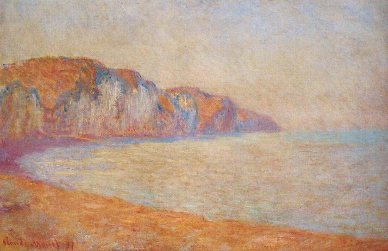 скалы и море < Скала в Пурвилле утром >:: Клод Моне, описание картины - Claude Monet фото