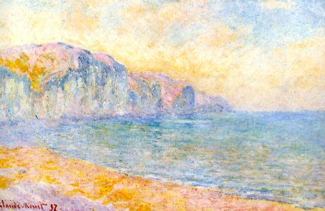 скалы и море < Скала в Пурвилле, утро >:: Клод Моне, описание картины - Claude Monet фото
