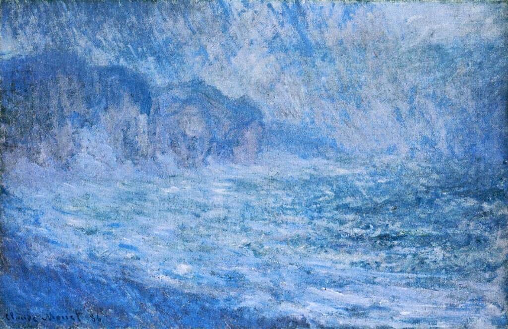 скалы и море < Скала в Пурвилле, дождь >:: Клод Моне, описание картины - Моне Клод (Claude Monet) фото